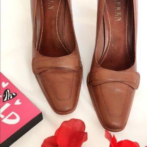 Ralph Lauren Genuine Leather Camel Brown Heels